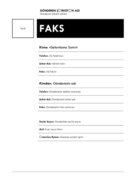 Adres mektup birleştirme faksı (Medyan tema)