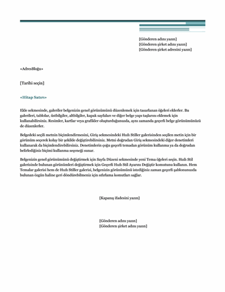 Adres mektup birleştirme mektubu (Şehir Hayatı teması)
