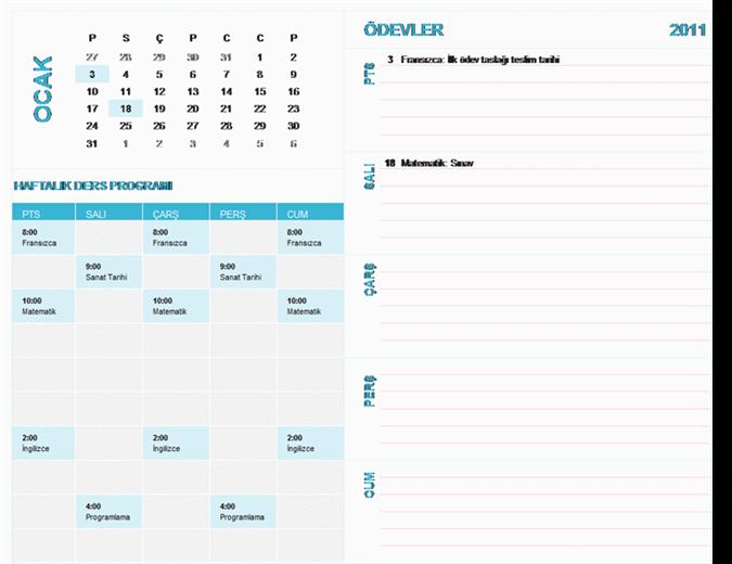 Öğrenci için haftalık planlama takvimi (herhangi bir yıl, Pzt-Paz)