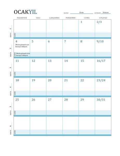 Ders planı takvimi