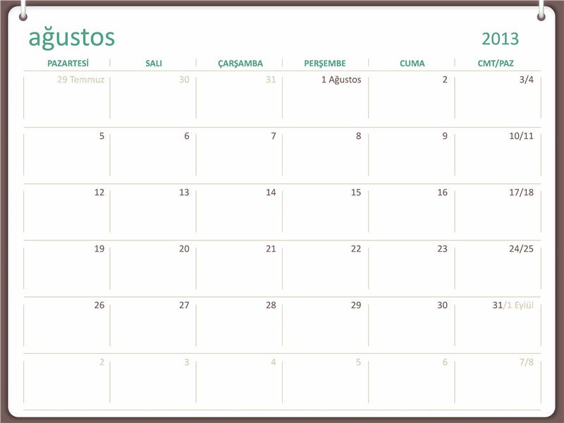 2013-2014 akademik takvimi (Ağustos)