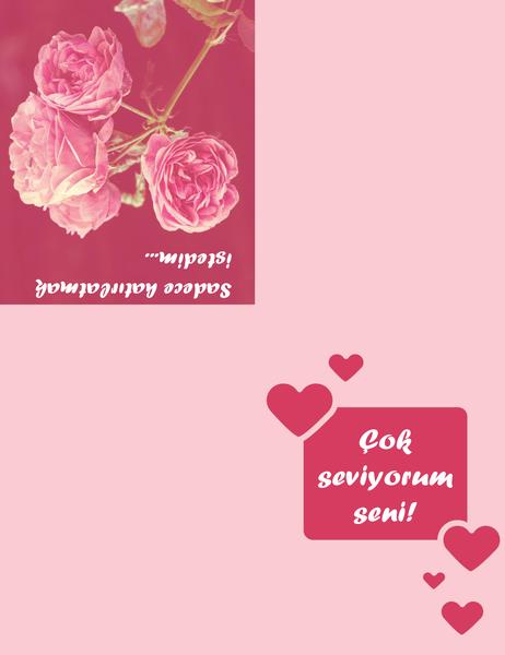 Romantik kart (dörde katlı)