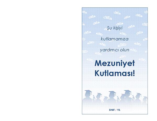 Mezuniyet partisi davetiyesi (Mezuniyet Partisi tasarımı, ikiye katlanmış)