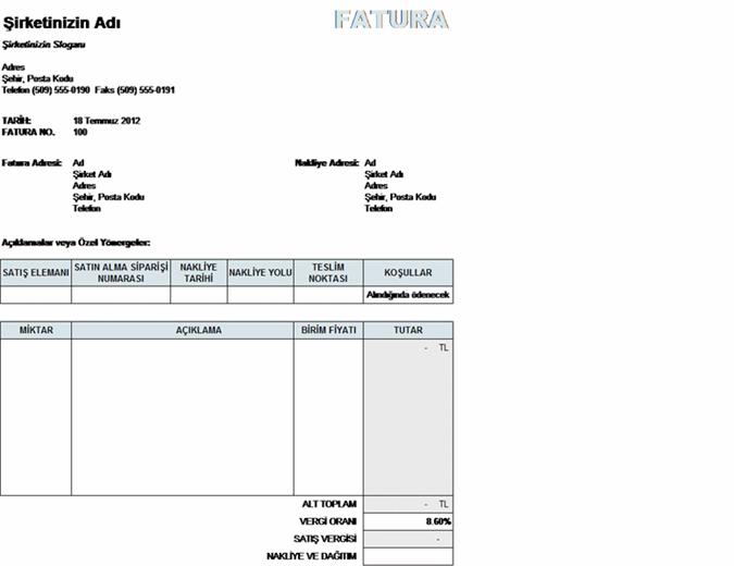 Vergi, nakliye ve dağıtımla birlikte satış faturası hesaplamaları