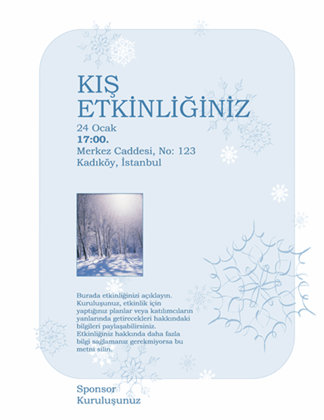 Kış etkinliği el ilanı
