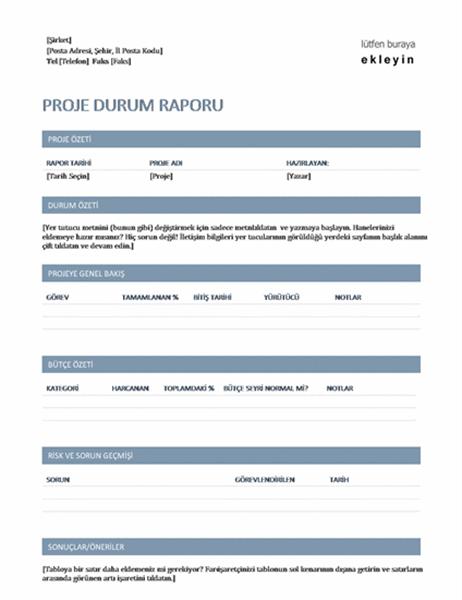 Proje durum raporu