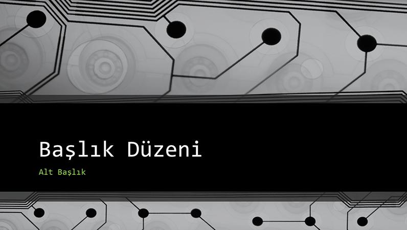 İş için teknolojik devre kartı tasarımlı sunu (geniş ekran)