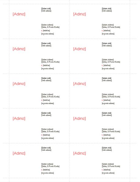 Kartvizitler (Kırmızı tasarım, sayfa başına 10 adet)