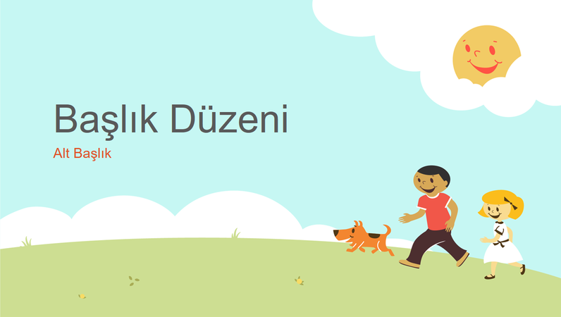 Oynayan çocuklar eğitim sunusu tasarımı (çizgi karakterler, geniş ekran)