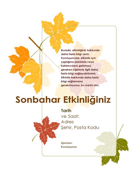Sonbahar etkinliği el ilanı (yapraklarla)