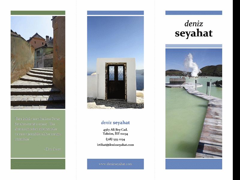 Üçe katlanan seyahat broşürü (mavi, yeşil tasarım)