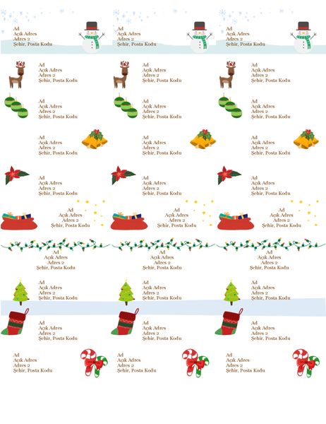Hediye etiketleri (Noel Ruhu tasarımlı, sayfa başına 30 adet, Avery 5160 ile uyumlu)