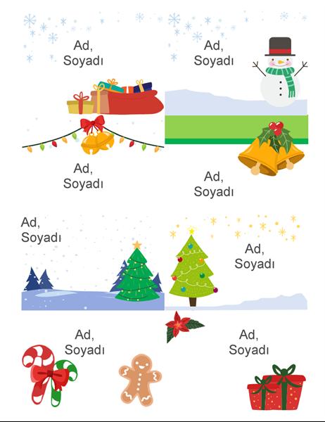 Bayramlık ad rozetleri (sayfa başına 8 tane, Noel Ruhu tasarımı, Avery 5395 ve benzerleriyle çalışır)