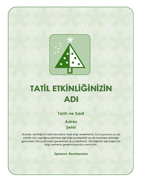 Tatil etkinliği el ilanı (yeşil ağaçlı)