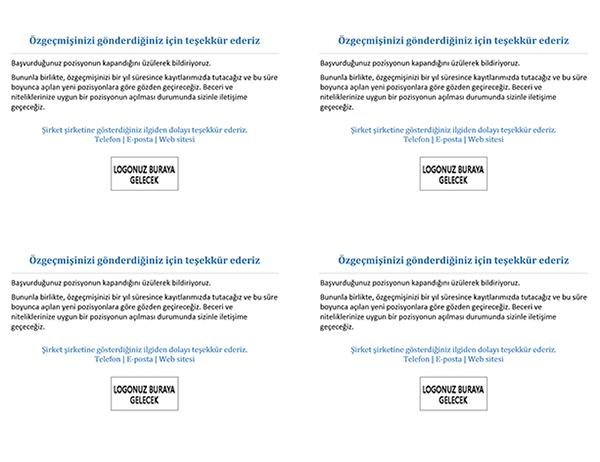 Başvurulan pozisyon kapandığında adaylara gönderilecek kartpostal (sayfa başına 4 adet)