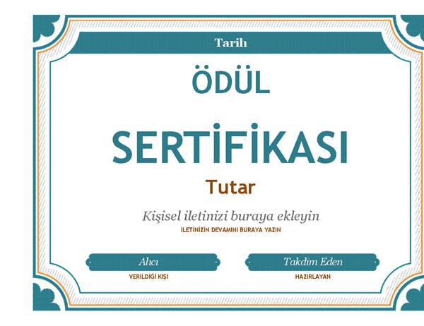 Hediye sertifikası ödülü