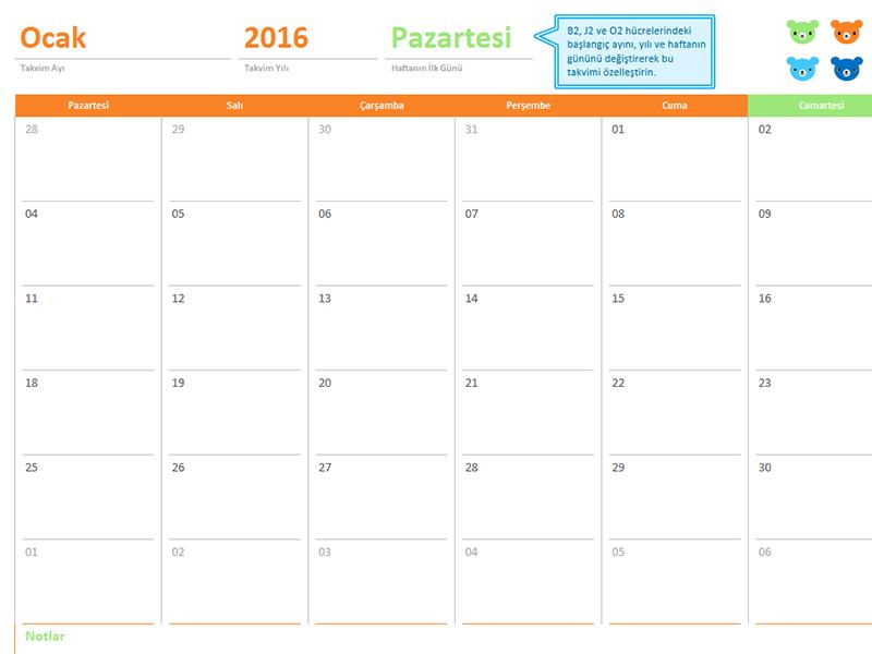 Herhangi bir yıl için aylık takvim (12 sayfa, Gökkuşağı Ayıcıkları tasarımı)