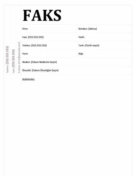 Faks kapak sayfası (Akademik tasarım)