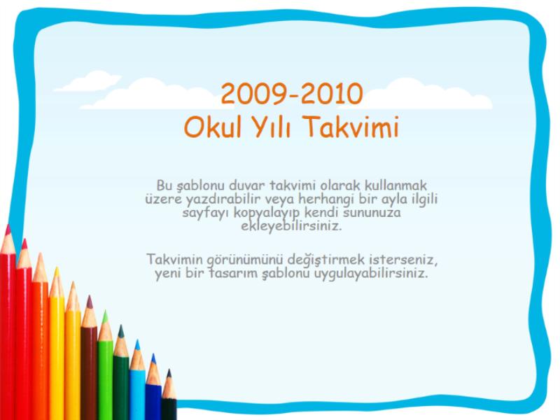 2009-2010 akademik takvimi (Pts-Paz, Ağu-Ağu)