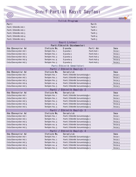 Sınıf partisi kayıt sayfası