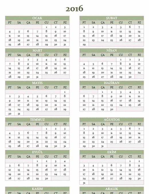 2016-2025 yıllık takvimi (Pzt-Paz)