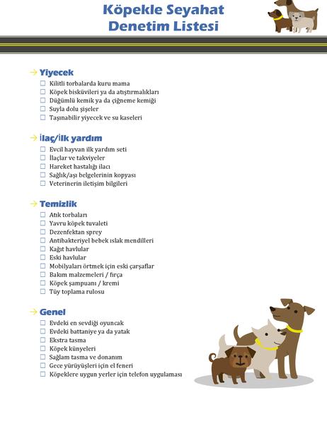 Köpekle seyahat denetim listesi