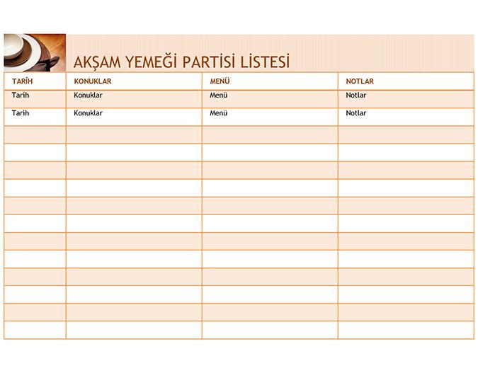 Menülü akşam yemeği partisi listesi