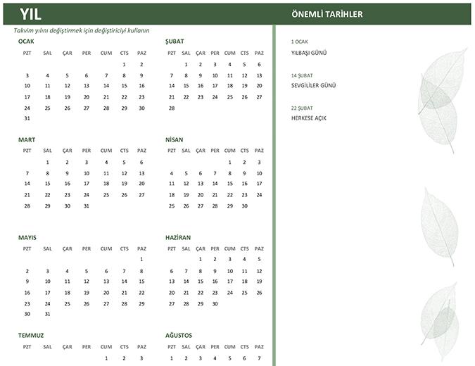 İşletme takvimi (herhangi bir yıl, Paz-Cts)