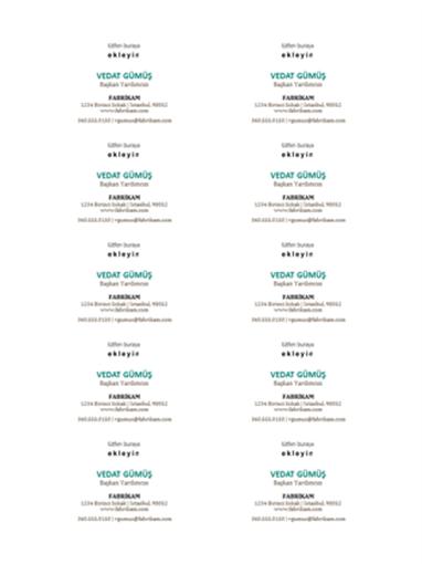 Kartvizitler, yatay düzen, logolu (sayfada 10 tane)