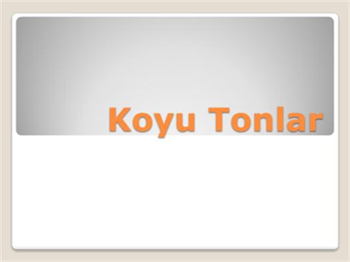 Koyu Tonlar