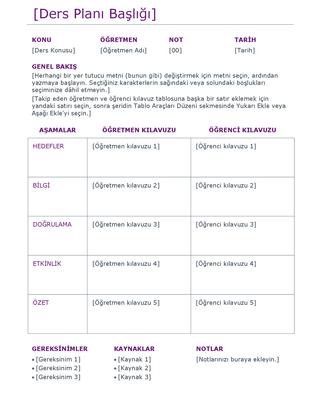 Ders planı (renkli)