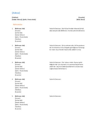 Özgeçmiş için referans listesi (İşlevsel tasarım)