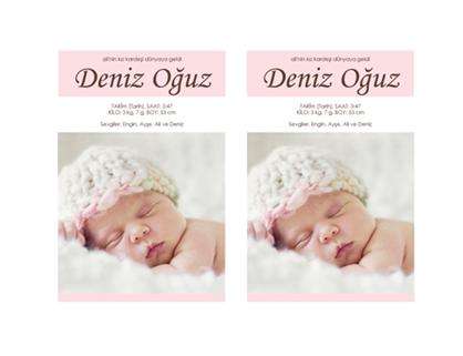 Kız bebek doğum duyurusu