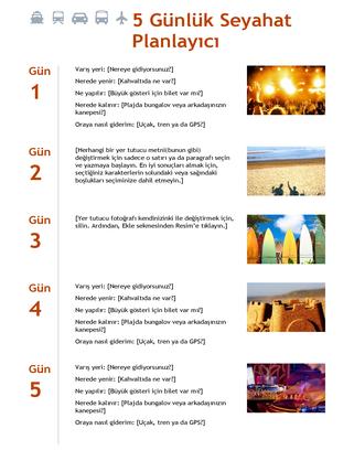 5 günlük seyahat planlayıcısı