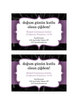 Parti davetiyesi (Mor Şerit tasarımı)