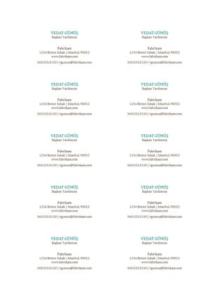 Kartvizitler, yatay düzen, logosuz (sayfada 10 tane)