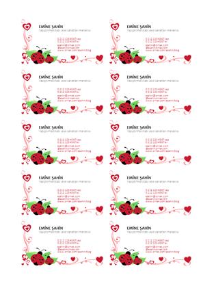 Kartvizitler (sayfa başına 10 adet, sola hizalanmış uğur böceği ve kalp)