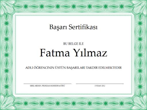 Başarı sertifikası (yeşil)