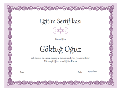 Eğitim sertifikası (mor zincir tasarımı)