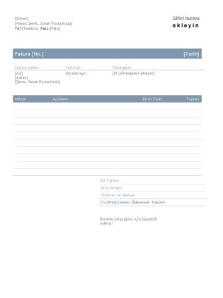 İşletme faturası (Zamansız tasarım)