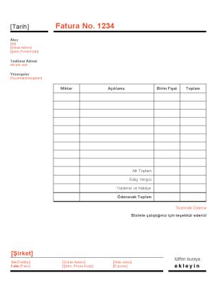 İşletme faturası (Kırmızı ve Siyah tasarım)