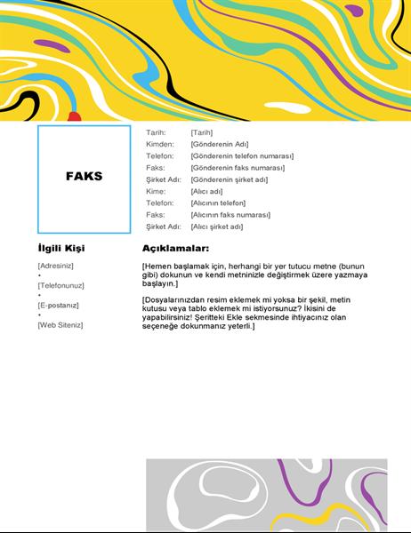 Girdap şeklinde renkli faks kapağı