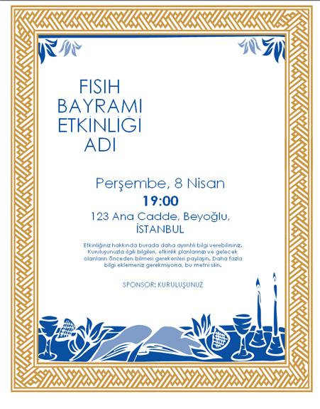 Fısıh Bayramı etkinliği el ilanı