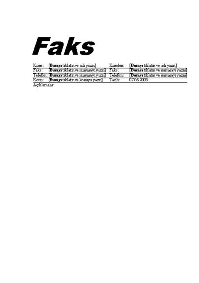 Standart Faks Kapak Sayfası