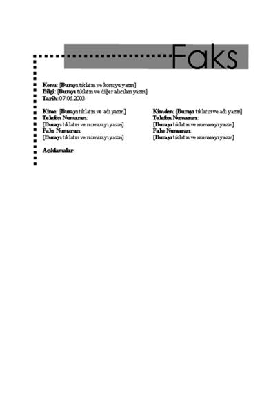 Kişisel Faks Kapak Sayfası
