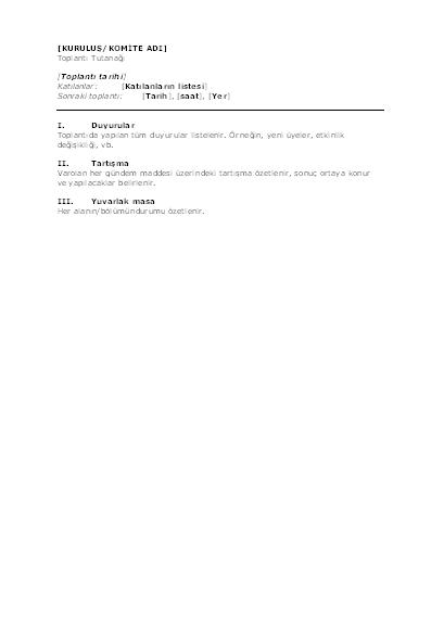 Kuruluş toplantısı tutanağı (kısa form)