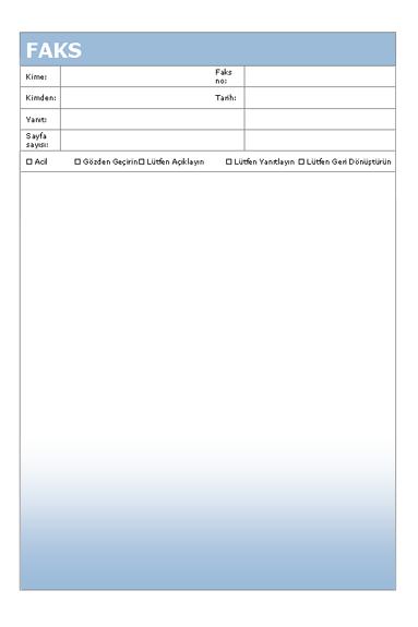 Faks kapak sayfası (Mavinin Tonları teması)