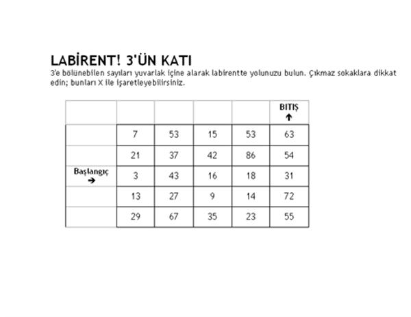 Düzey 1 sayı labirenti, 3'ün katı
