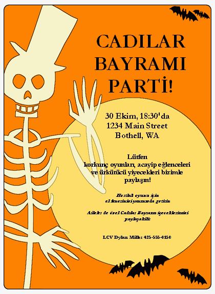 Cadılar Bayramı partisi el ilanı