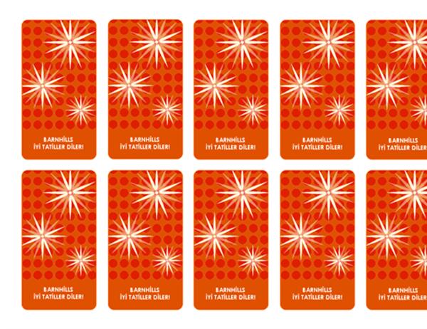 Bayram hediyesi etiketleri (şık kar tanesi tasarımı; Avery 5871, 8871, 8873, 8876 ve 8879 ile iyi sonuç alınır)